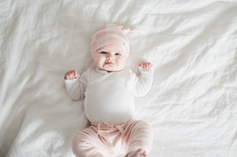 Copper Pearl Newborn Top Knot Hat - London