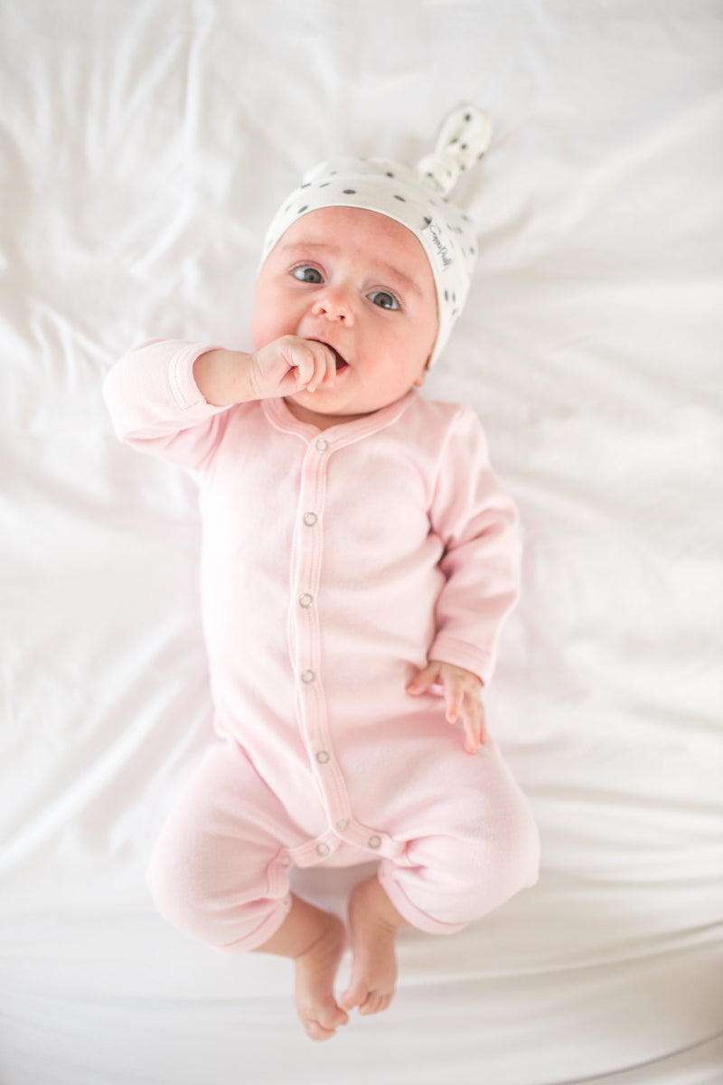 Copper Pearl Newborn Top Knot Hat - Willow