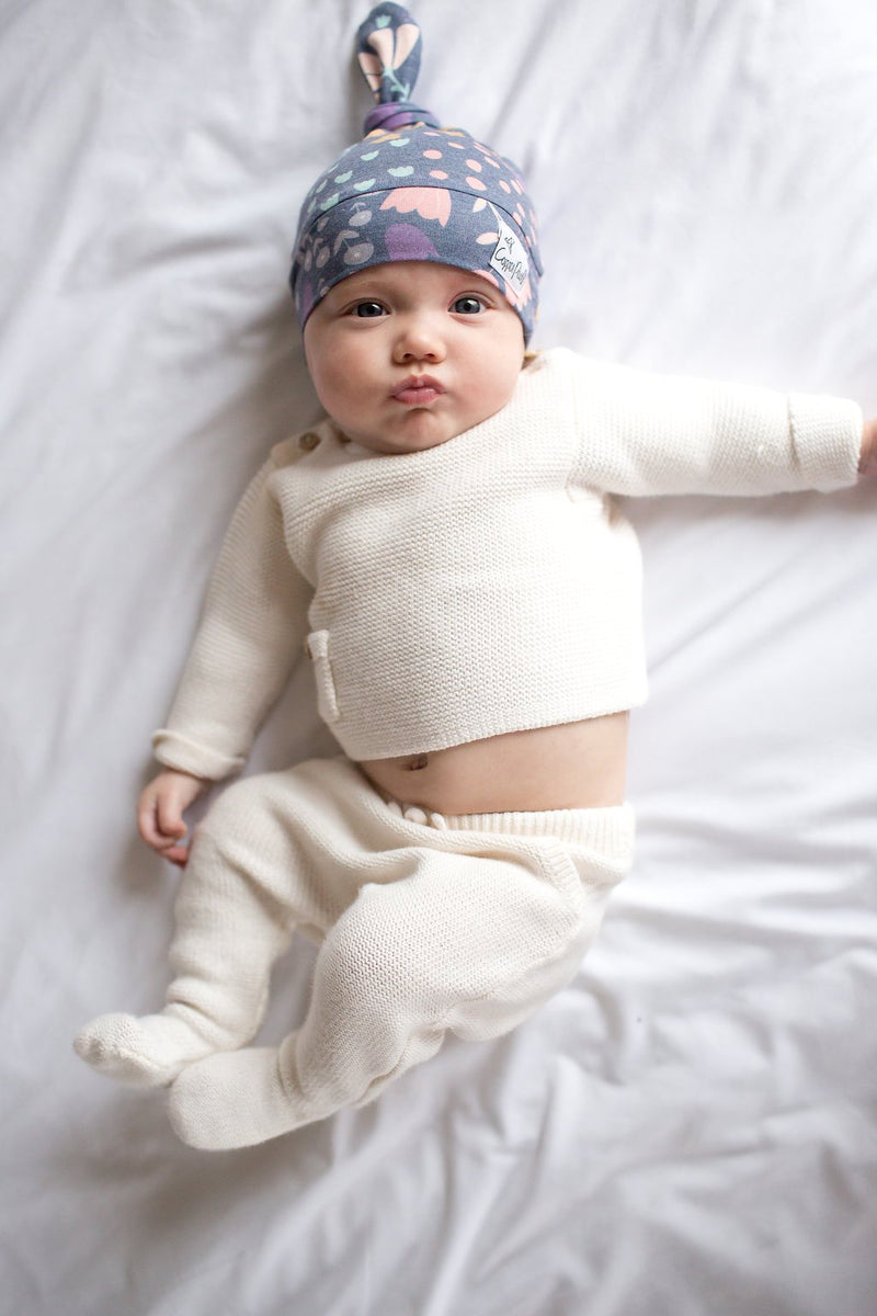 Copper Pearl Newborn Top Knot Hat - Meadow