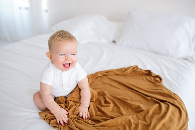 Copper Pearl Knit Swaddle Blanket - Camel