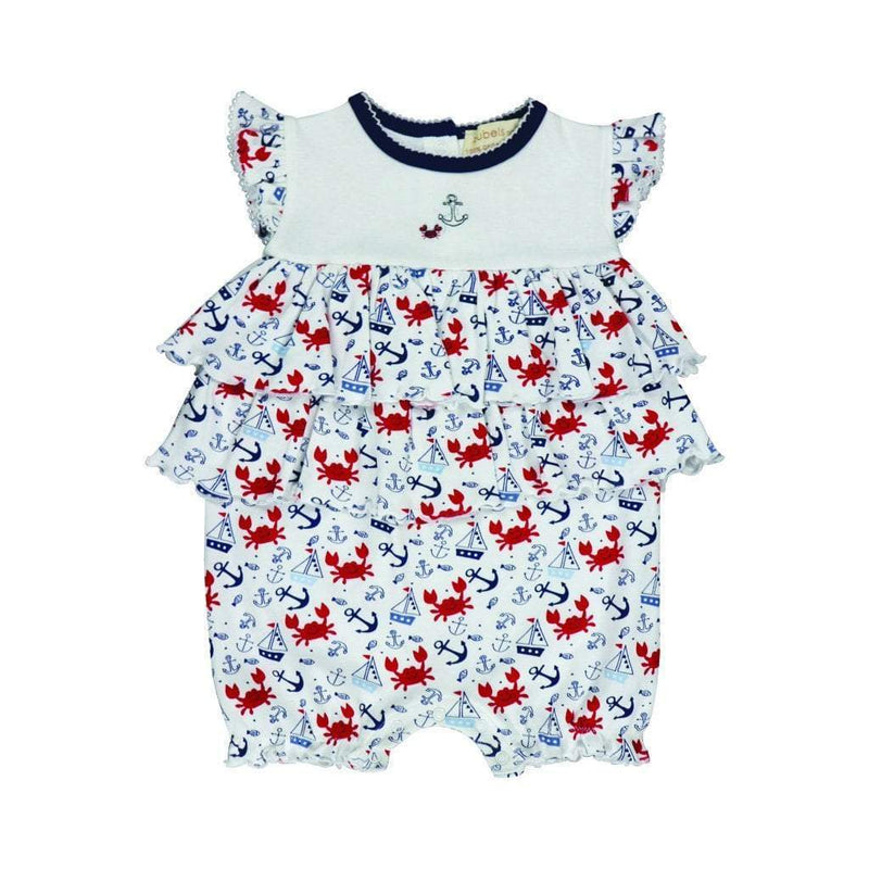 Zubels Girls 100% Organic Cotton Knit French Bubble Nautical Print