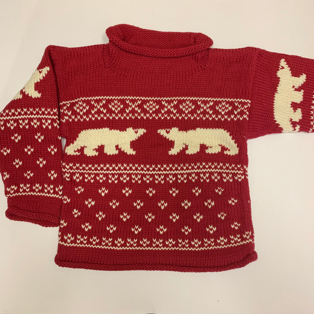 Claver Cranberry Polar Bear Roll Neck Sweater
