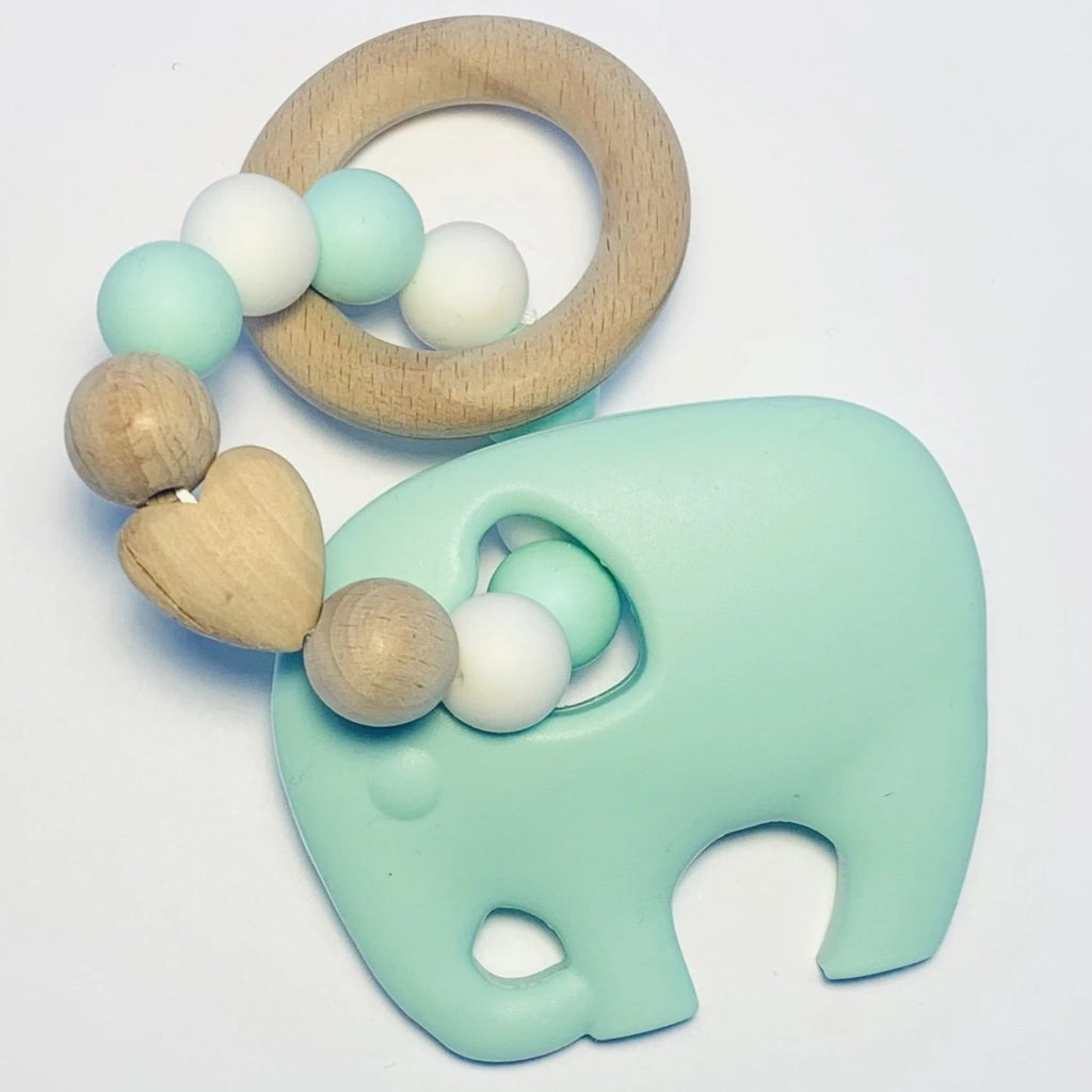Sugar + Maple Silicone + Beechwood Teether Elephant - Mint