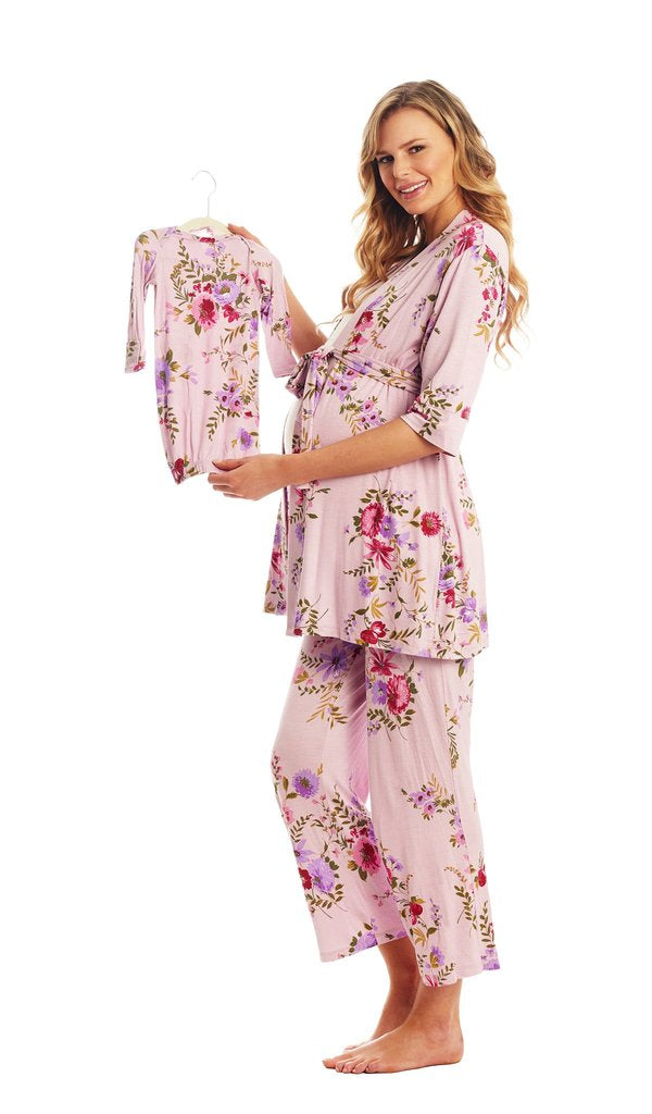 Everly Grey Adalia 5 pc Beige Floral Pajama