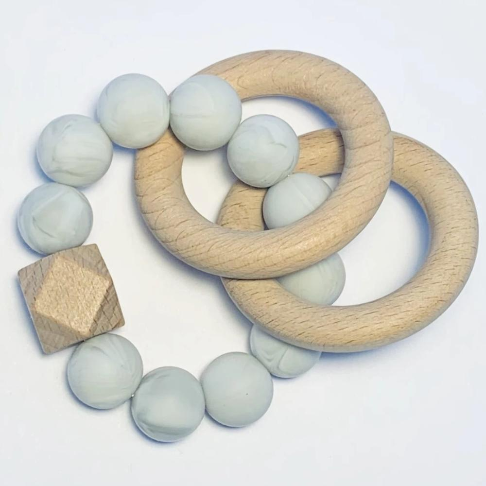 Sugar + Maple Silicone + Beechwood Teether 2-Ring - Grey