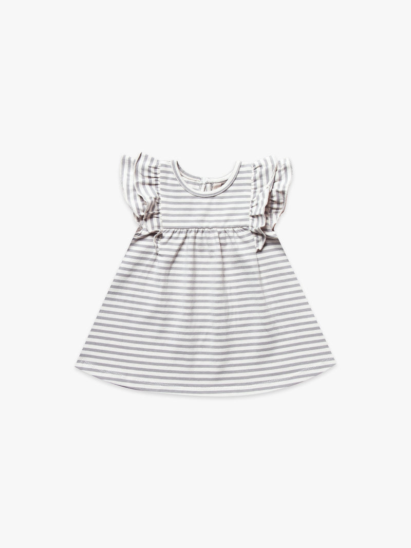 Quincy Mae Flutter Dress - Grey Stripe