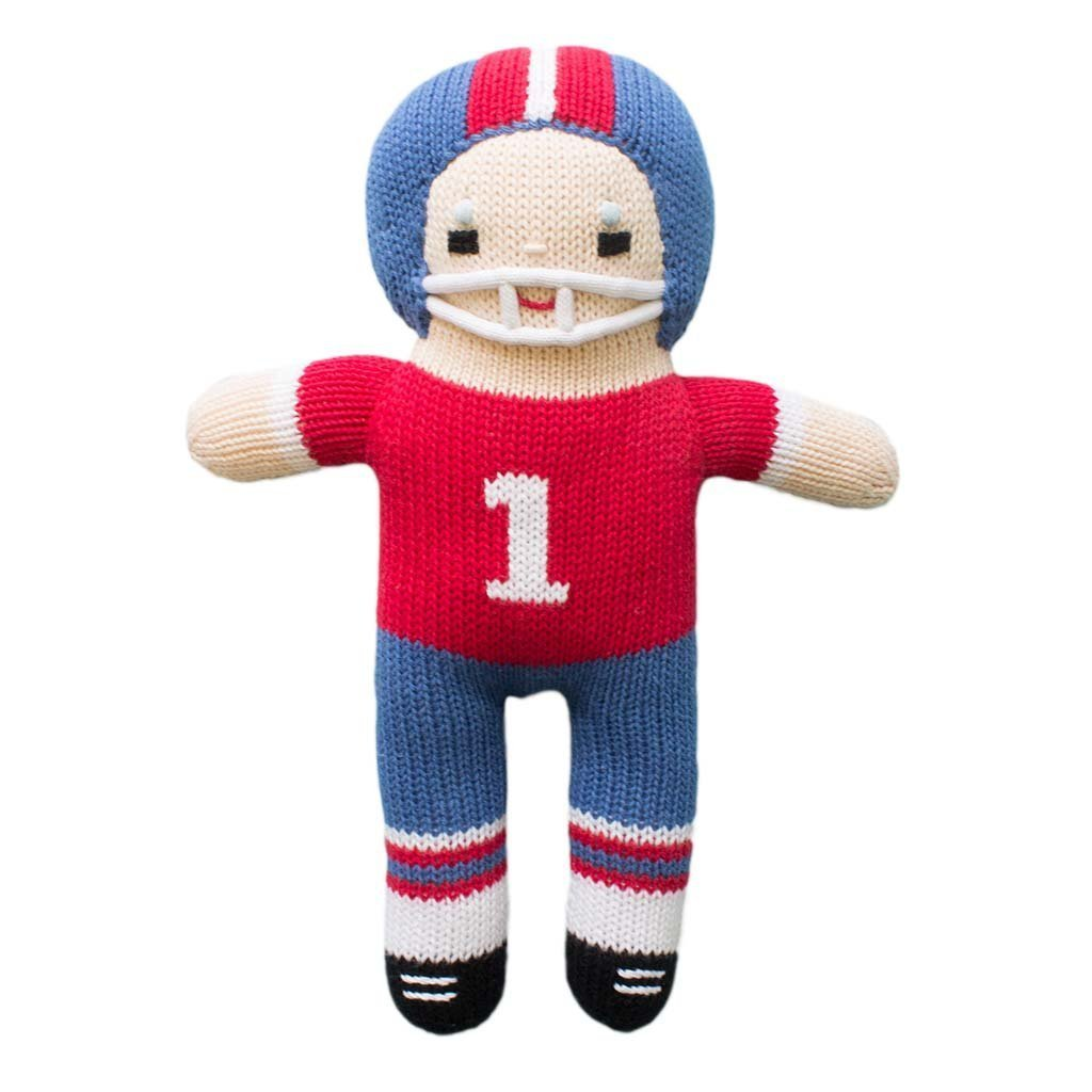 Zubels Football Player Royal & Red Knit Doll