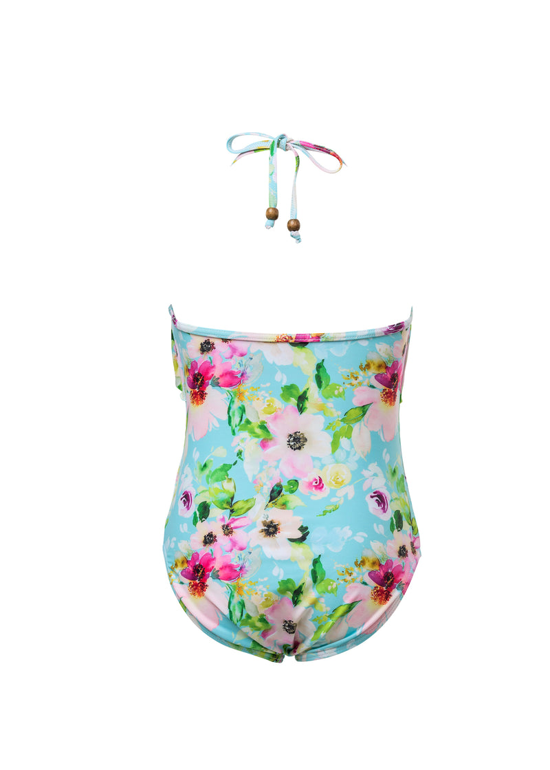 Snapper Rock WATERCOLOR FLORAL FRILL HALTER SWIMSUIT