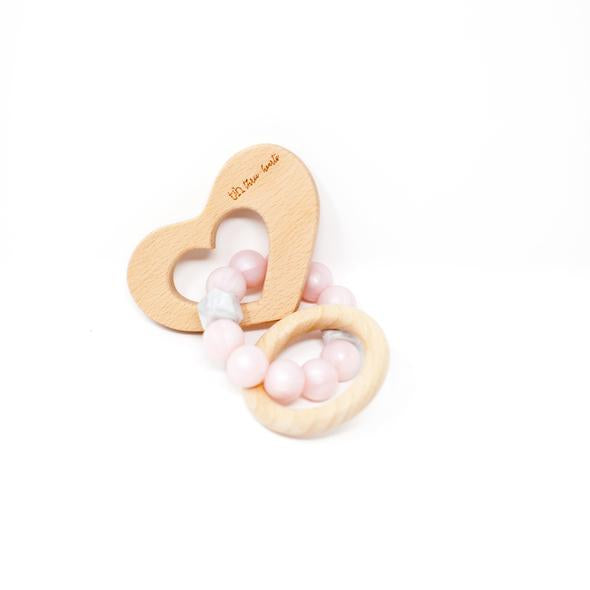 Three Hearts-Heart Rattle - Pearl Pink- Natural Beech Wood