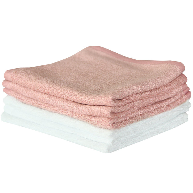 6 Bamboo Wash Cloths - Pink/White - Copper Pearl - 7