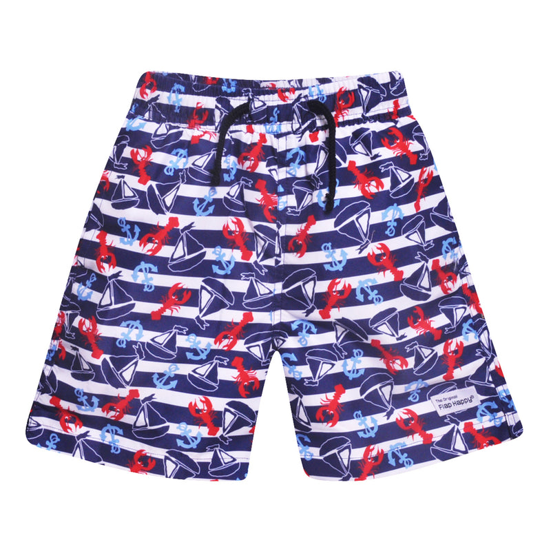 Flap Happy UPF 50+ Boys Swim Trunks w/ Mesh - Vitamin Sea