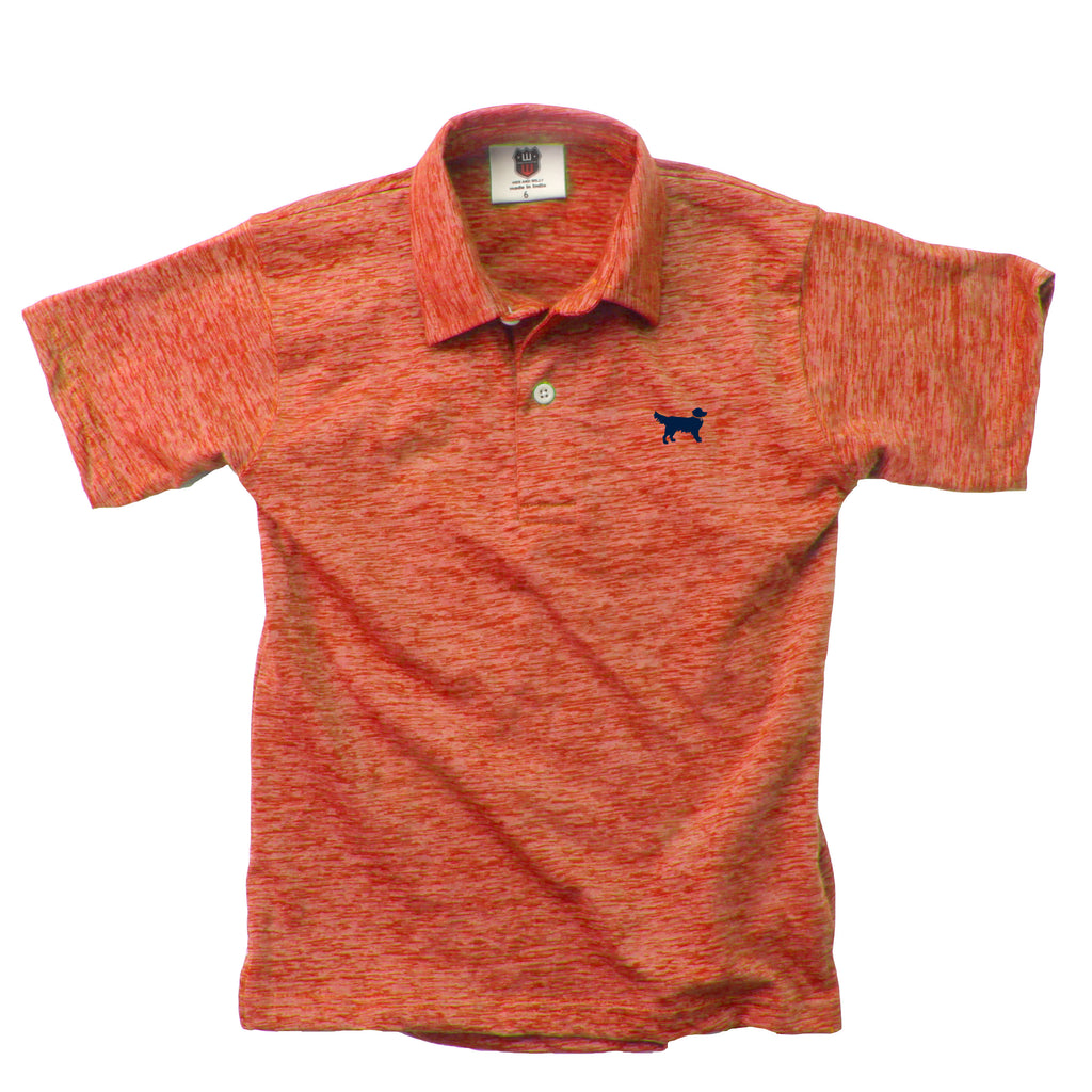 Wes & Willy Cloudy Yarn Short Sleeve Polo - Orange Crush