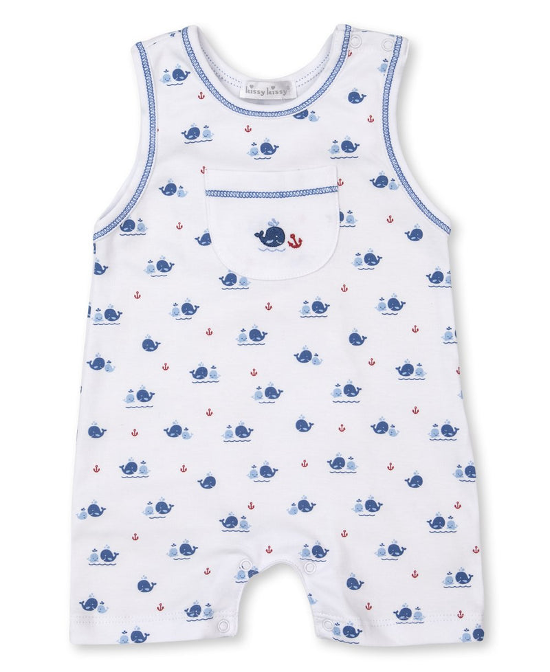 Kissy Kissy Sleveless Playsuit - Blue Breaching Whale