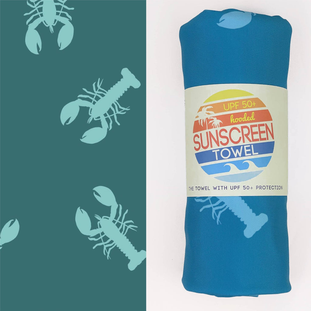Luv Bug Co Hooded UPF 50+Sunscreen Towel - Adult Full Size Lobstah