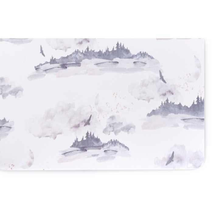Oilo Jersey Crib Sheet - Misty Mountain