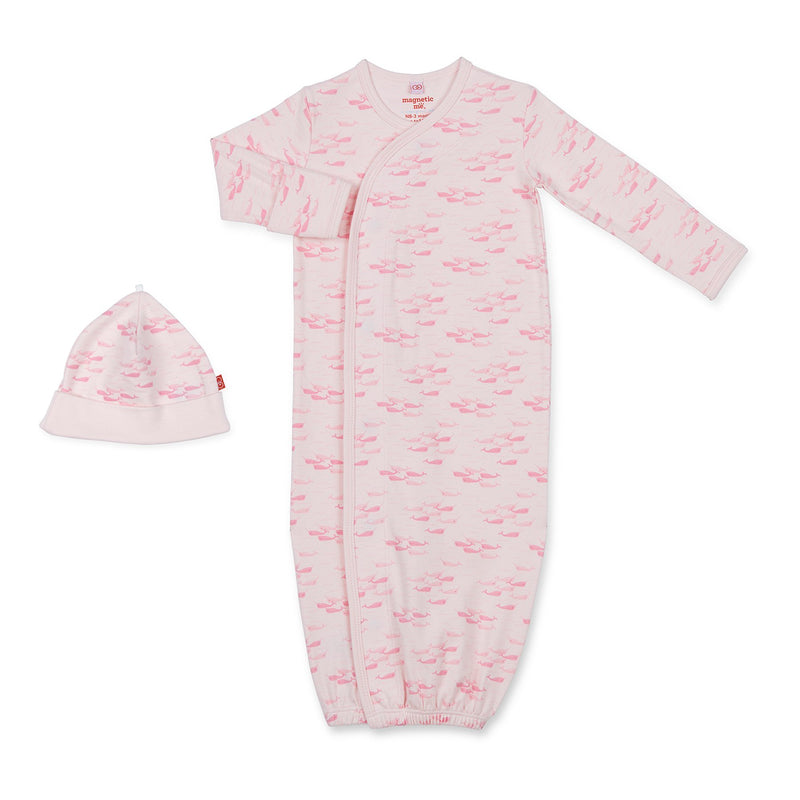 "Magnificent Baby "" Magnetic Me"" pink Narwhal magnetic gown and hat set"