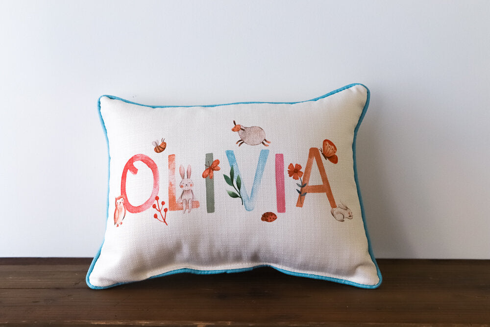 Little Birdie Arts Personalized Pillow - Woodland Girl