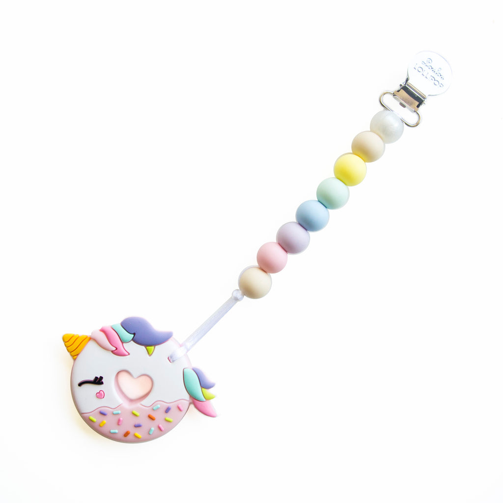 Loulou Lollipop Pink Unicorn Donut Teether with Holder Set
