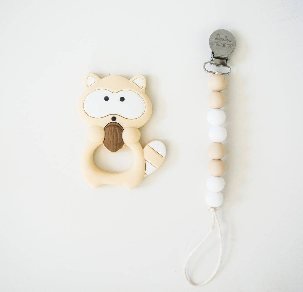 Loulou Lollipop Raccoon Teether with Holder Set