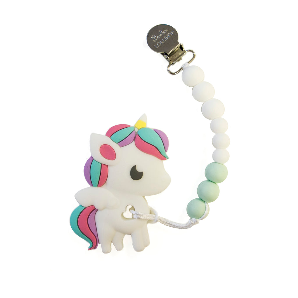 Loulou Lollipop Rainbow Unicorn Teether with Holder Set
