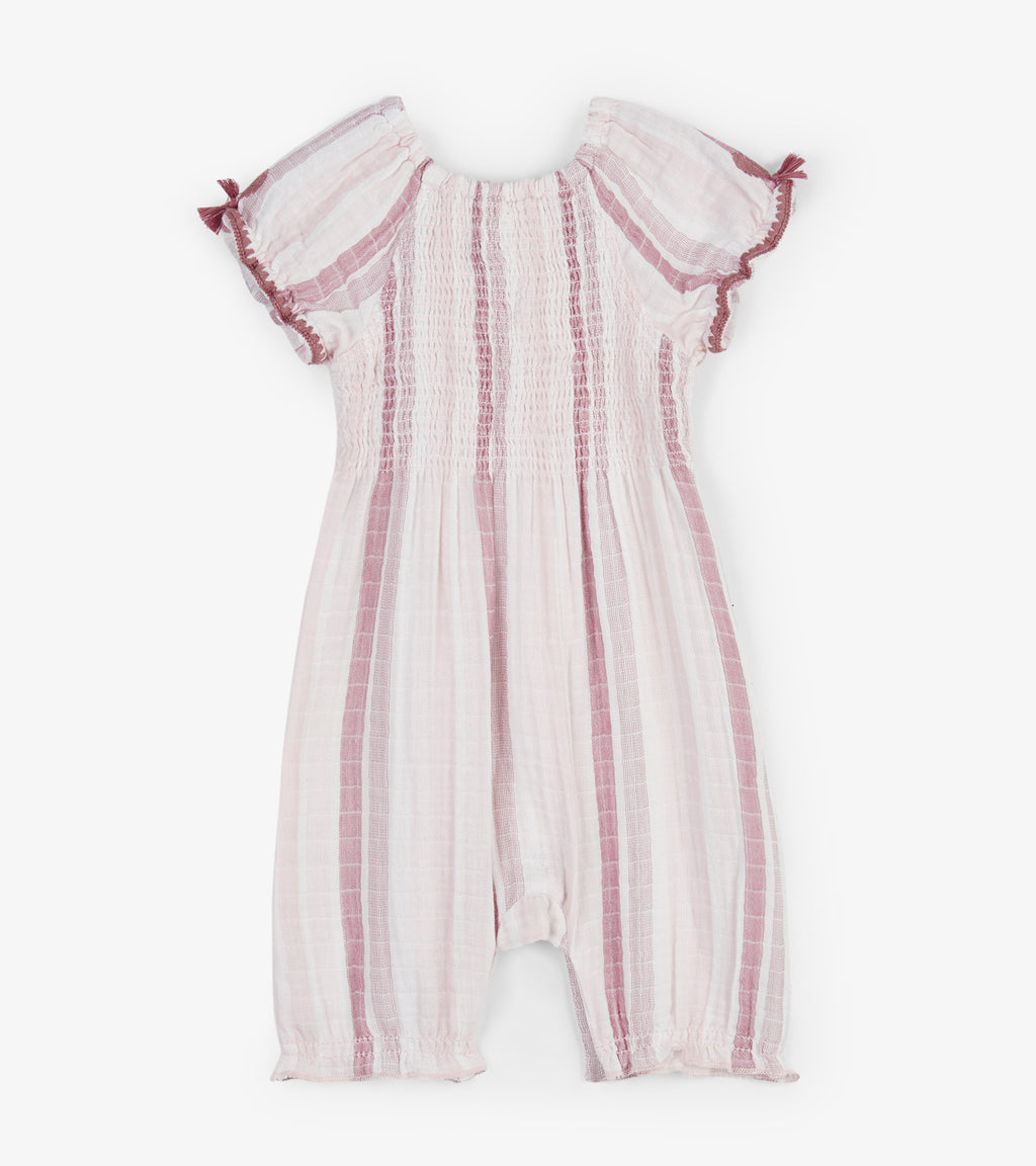 Hatley  Pink Stripes Baby Puff Sleeve Romper