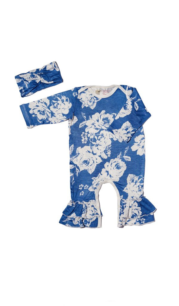 Everly Grey 2Pc Blue Floral Ruffle Romper