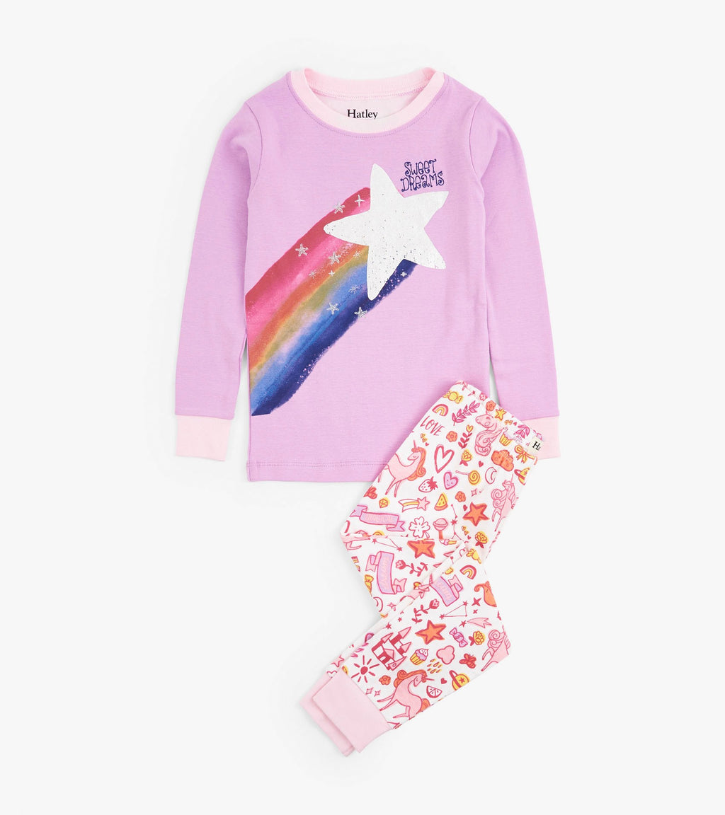 Hatley Unicorn Doodles Applique Organic Cotton PJ's