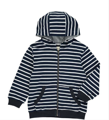 Me & Henry Navy/White Stripe Hooded Top