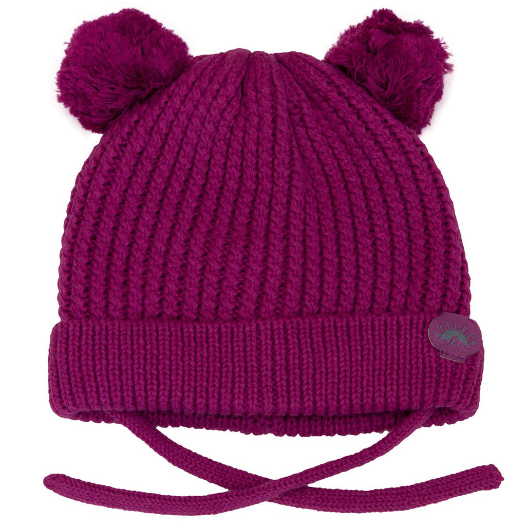 Calikids Baby Double Pom Knit Hat with Chin Ties