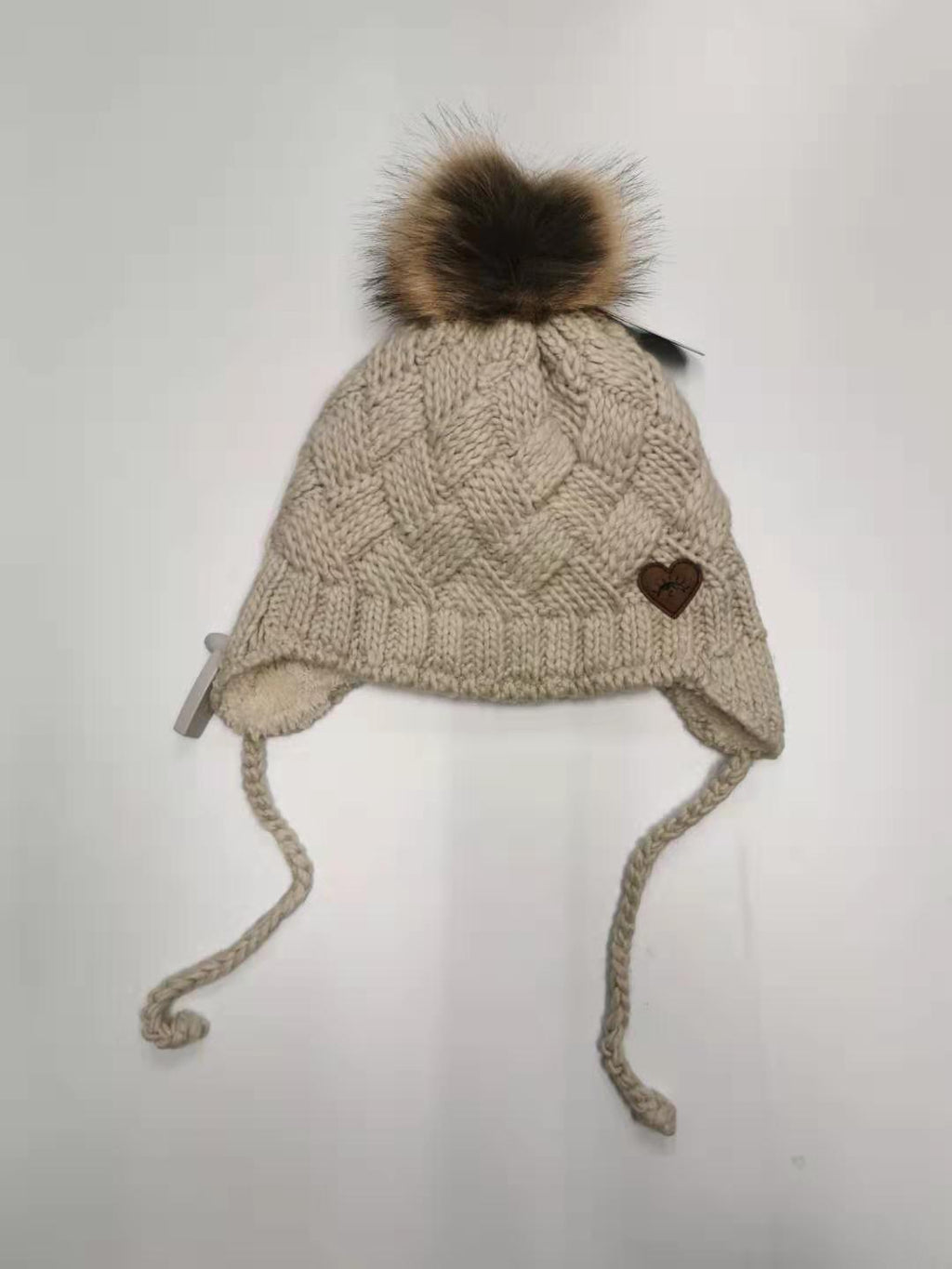 Calikids Girl's Knit Cotton Pom Hat - Sand