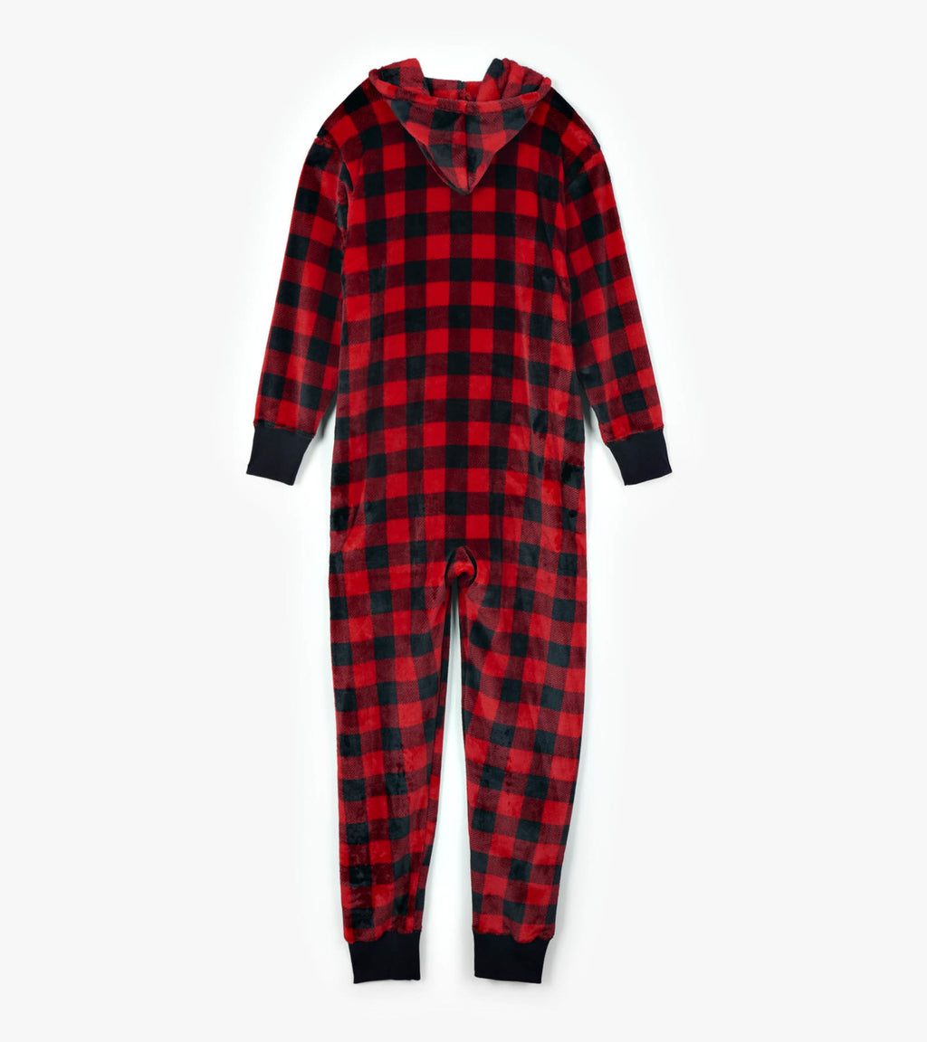 Little Blue House Adult Hooded Fleece Jumpsuit - Buffalo Plaid