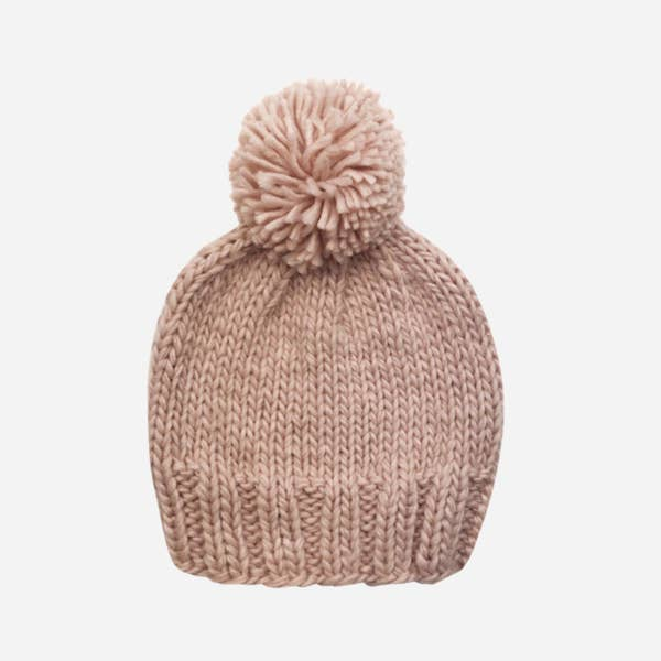 The Blueberry Hill Single Pom Beanie - Blush
