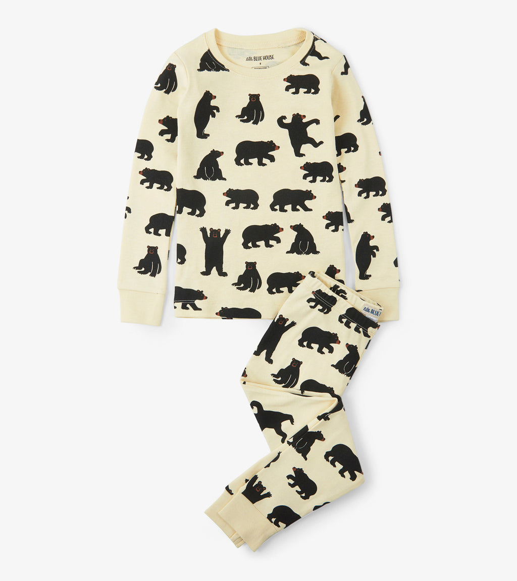 Little Blue House Pajama Set - Black Bear