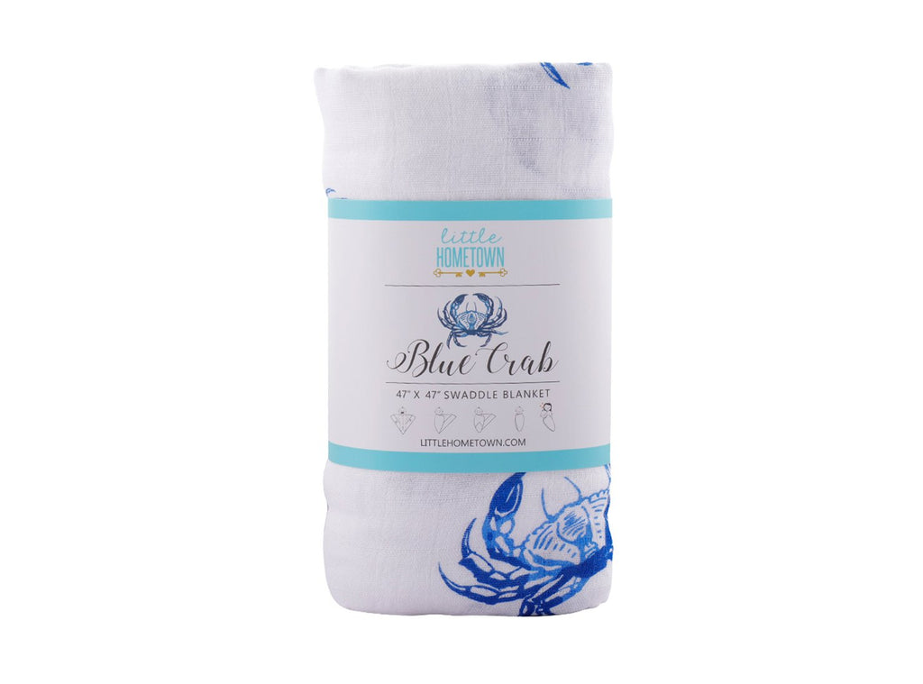 Little Hometown Muslin Swaddle - Blue Crab