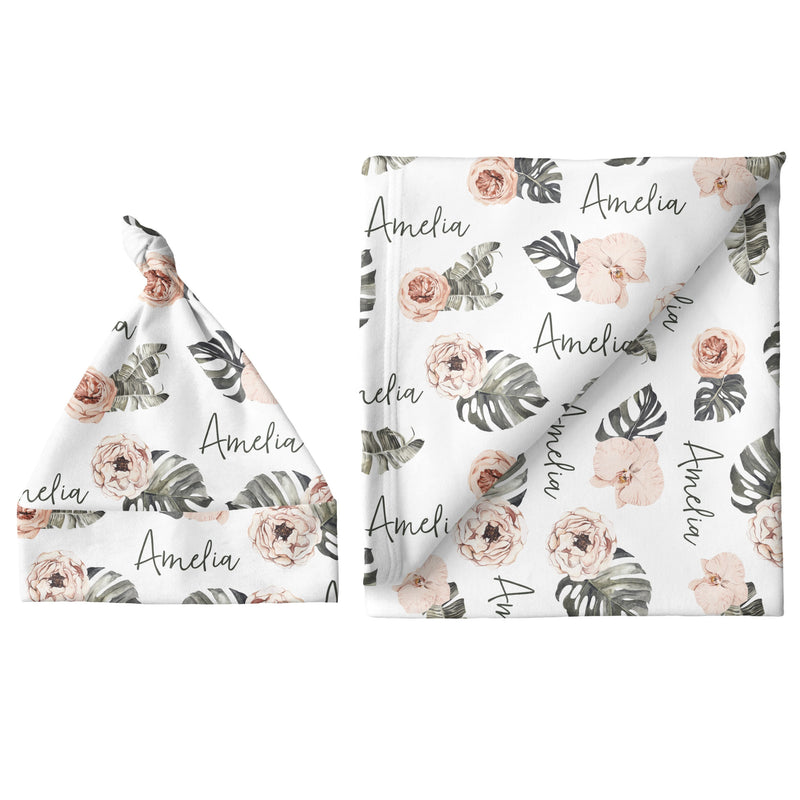 Sugar + Maple Small Blanket & Hat Set - Tropical Floral