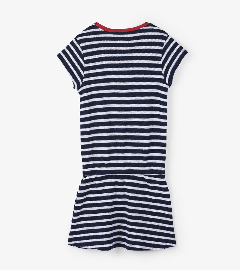 Hatley Nautical Stripes Pique Front Pocket Drop Waist Dress