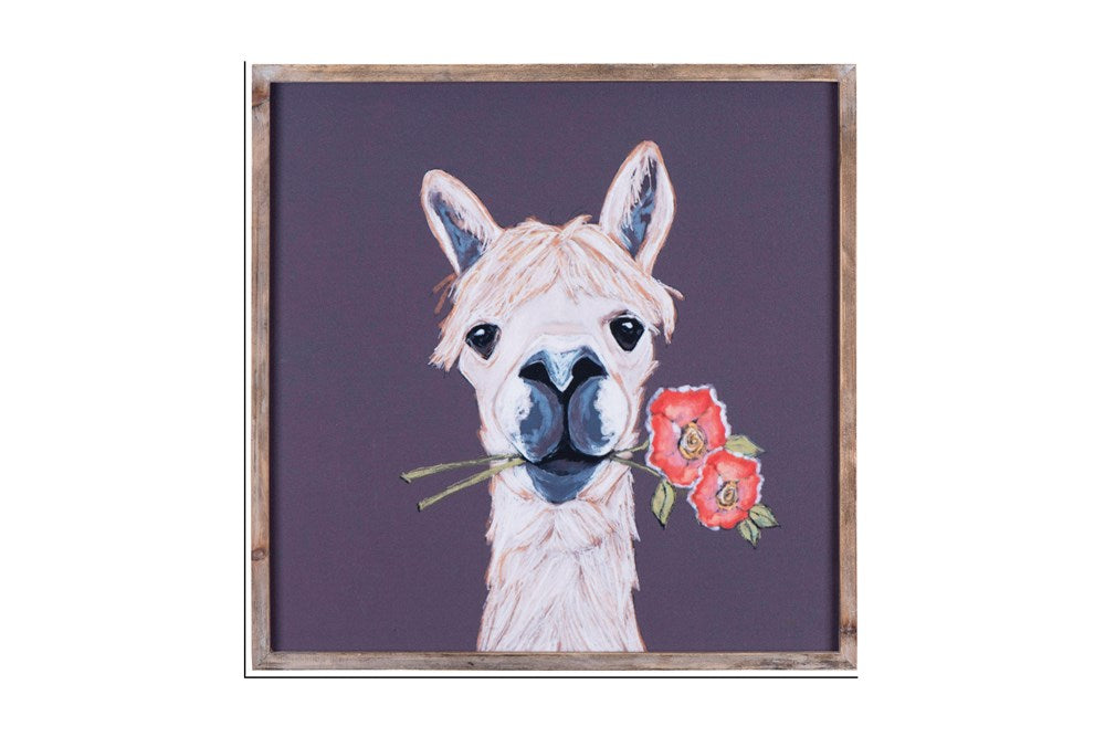 "18"" Square Wood Framed Wall Decor w/ Llama with flower"