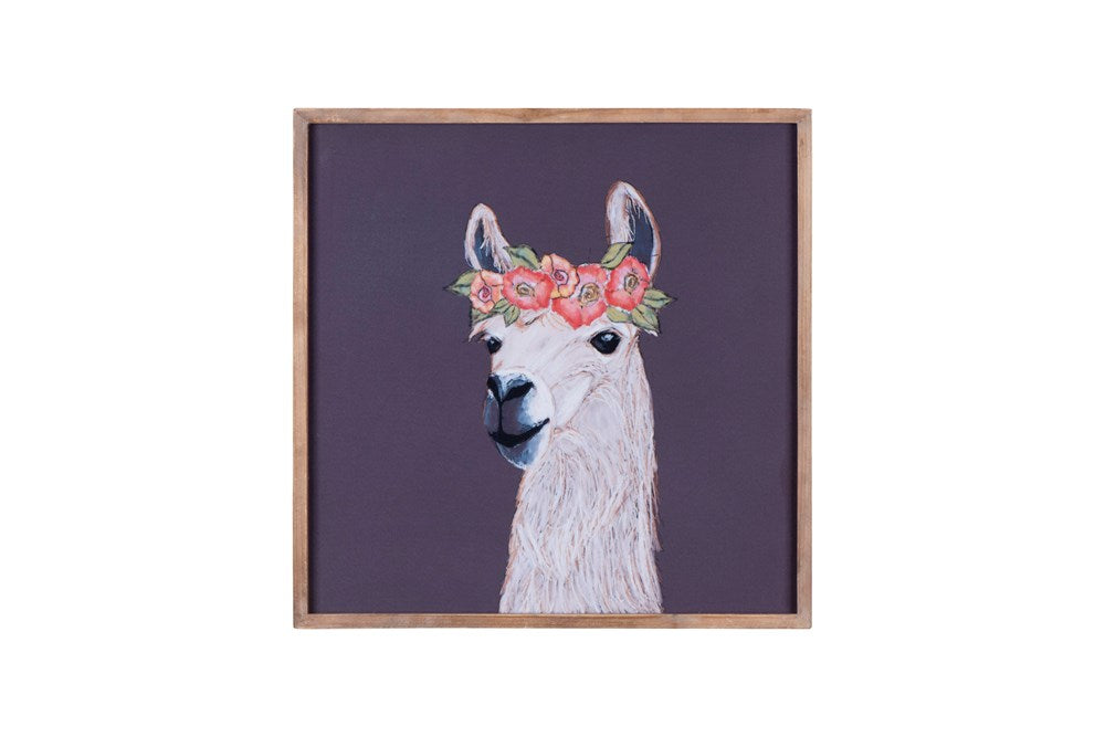 "18"" Square Wood Framed Wall Decor w/ Llama with Flower Crown"