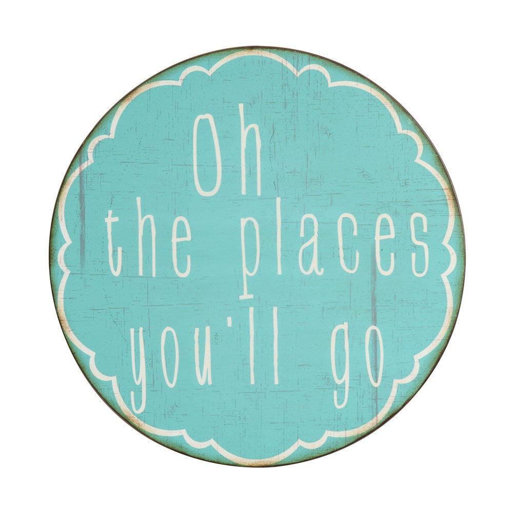 "20"" Round Metal Wall Decor ""Oh The Places You'll Go"""