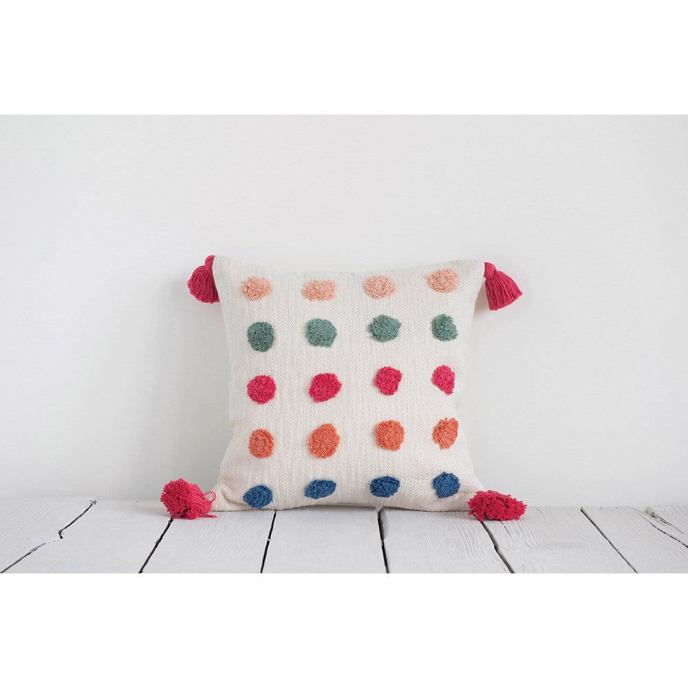 "16"" Square Woven Cotton Pillow w/ Tufted Dots & Tassels, Multi Color"