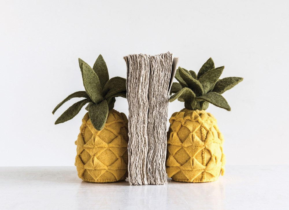Handmade Wool Felt Pineapple Bookends, Yellow & Green, Set of 2
