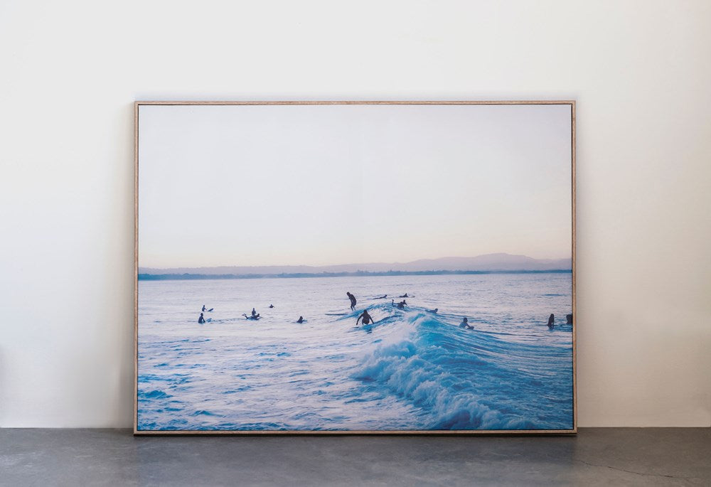 Framed Canvas Wall Decor w/ Surf Scene