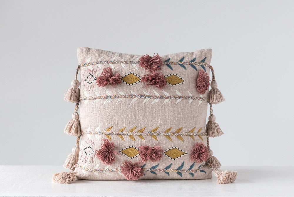 "20"" Square Cotton Embroidered Pillow w/ Tassels & Applique, Pink"