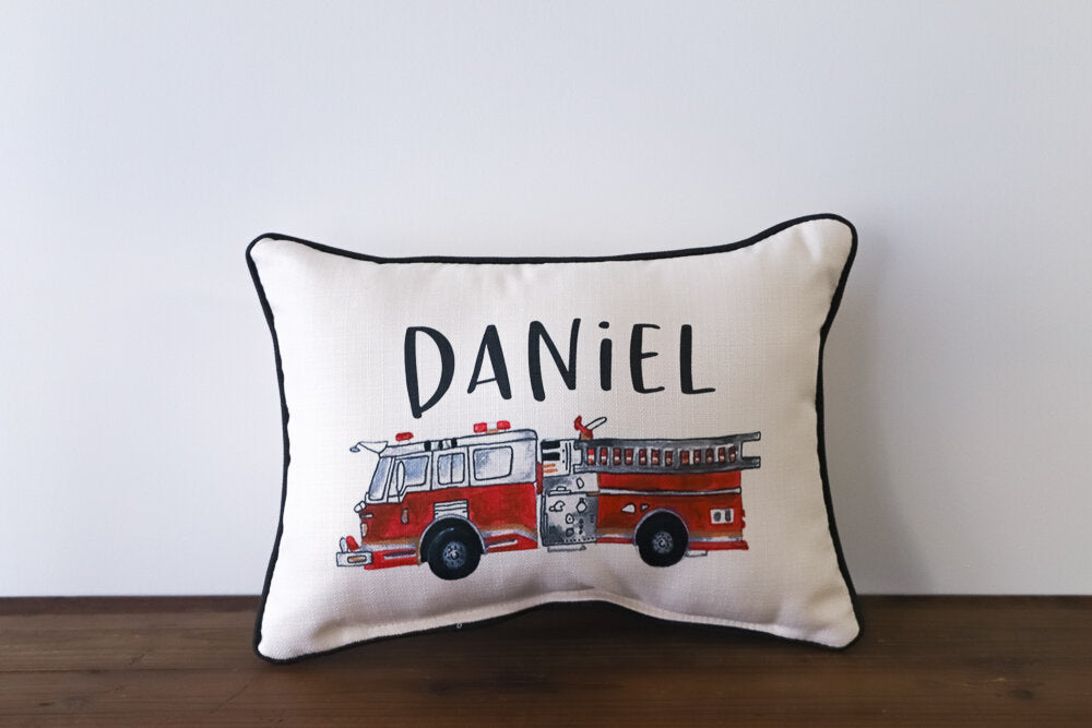 Little Birdie Arts Personalized Pillow - Vintage Firetruck