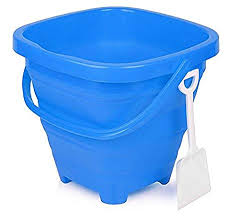 Packable Pails - Aquatic Aqua Blue Pail with White Shovel