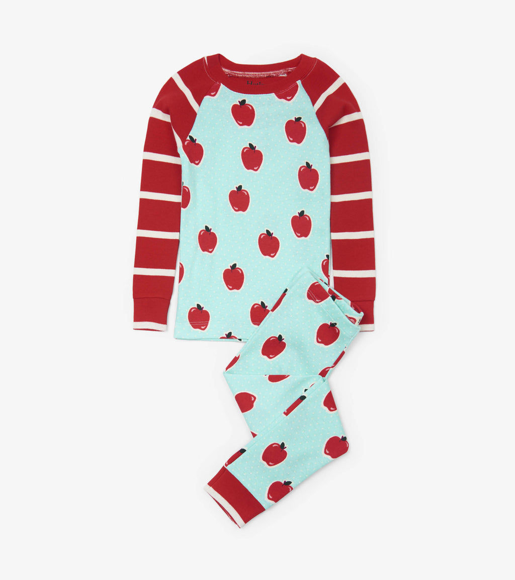 Hatley Apples and Dots Organic Cotton Raglan Pajama Set