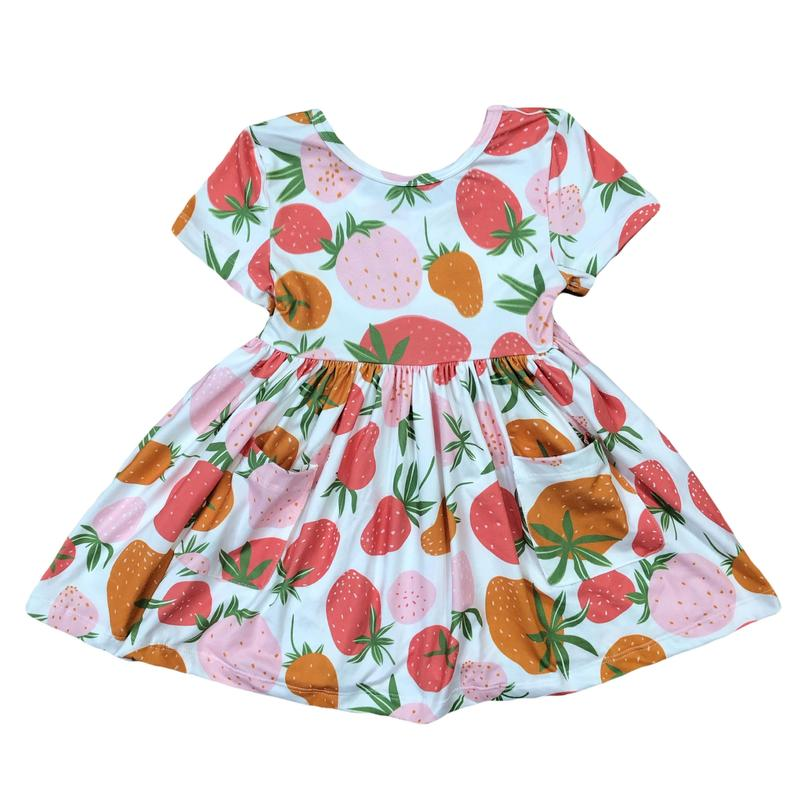 Mila & Rose Strawberry Short Sleeve Twirl Dress