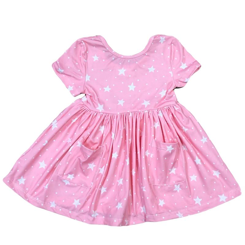 Mila & Rose Pink Star Short Sleeve Twirl Dress