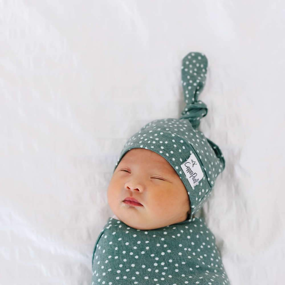 Copper Pearl Newborn Top-Knot Hat - Juniper
