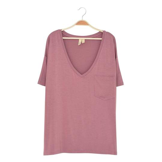 Kyte Baby Womens Relaxed Fit V-Neck - Mulberry